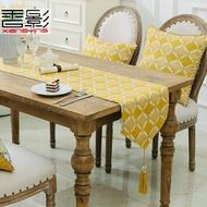 桌旗 桌旗現代簡約時尚北歐美式桌旗復古黃色布藝桌巾書旗長條桌布餐旗 晶彩生活