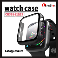 เคส applewatch 44mm / 42mm /40mm / 38mm case apple watch series 5 / 6 /SE / 3 / 4 ด้วยกระจกนิรภัยป้องกันลายนิ้วมือป้องกันรอยขีดข่วน ดำและขาว เคสใส เคสใส iwatch