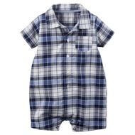 Carter's 美國童裝 襯衫 連身衣 短褲 短袖 藍色格子 3M 6M 9M 12M 18M 24M