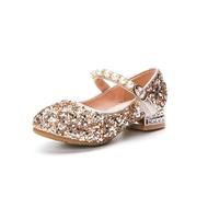 ULKNN รองเท้าเจ้าหญิงสำหรับเด็กผู้หญิง,ใหม่รองเท้าปักเลื่อมส้นสูงสีเงินรองเท้าคัชชูสำหรับเด็ก2021