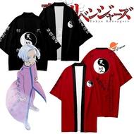 Anime Tokyo Revengers Kurokawa Izana Cosplay Costume Cloak Black Red Tenjiku Uniform Kimono Unisex Shorts Hanagaki Takemichi Short-sleeve T-shirt