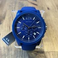 美國百分百【Armani Exchange】AX 手錶腕錶 三眼 阿曼尼 不鏽鋼 AX1327 橡膠錶帶 寶藍 I817