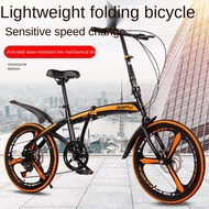 20 inch variable speed double disc brake folding bicycle adult outdoor riding alloy one-wheeled road mountain bike
