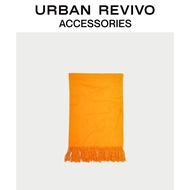 URBAN REVIVO Spring and Autumn Youth Women's Accessories Pure Color Tassel Scarf