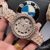 Rolex 勞力士 防水滿天星滿鑽鋼帶錶 羅馬數字刻度帶日曆鑲鑽錶盤腕錶