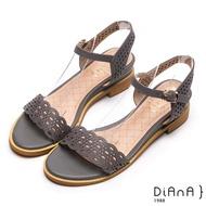【DIANA】優雅氣質-波浪雷射沖孔羊皮涼鞋(灰藍)