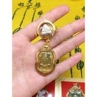 泰國佛牌  龍婆喜2517必打 2536龍婆坤錢袋子自身金殼一套