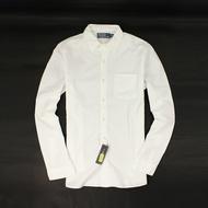 美國百分百【全新真品】Ralph Lauren 襯衫 RL 長袖 上班 上衣 Polo 口袋 白 純棉 素面 男衣 S號