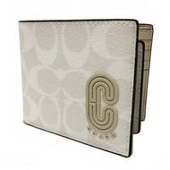 COACH 字母C LOGO男款8卡對折短夾附活動式證件(展示品-米白/灰)