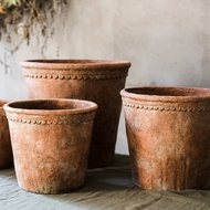 Vintage red pottery color large-scale cement decorative flower pots can be planted trees soil cultivation high-end European-style gardening