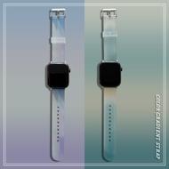 ใหม่ สีน้ำไล่ระดับ apple watch strap สายยางนุ่ม iwatch series SE 6 5 4 3 2 1  สาย applewatch 38 40 42 44mm