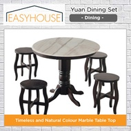 Yuan Dining Set | Dining | Marble Table Top | Solid Wood Table Structure