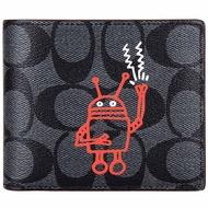 COACH X Keith Haring 聯名款PVC C LOGO黑灰前夾F11945(證件夾)