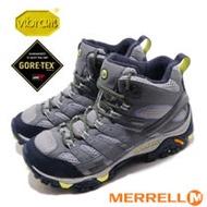 【美國 MERRELL】女新款 MOAB 2 MID GORE-TEX 多功能防水透氣中筒登山健行鞋.登山鞋/Vibram黃金大底.抗菌防臭鞋墊/ML19884 灰/紫