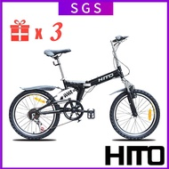 Hito Foldable Bicycle 20 Inch Disc Brake Mountain Bike Shockproof Men's And Women's Folding Variable Speed Student Bike