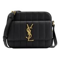 YSL SAINT LAURENT VICKY 絎縫皮革斜背相機包.黑