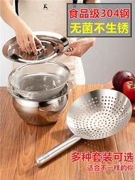 濾油勺 304不銹鋼大漏勺加厚家用油炸廚師油鼓漏廚房涼蝦大號過濾網漏網『XY12032』