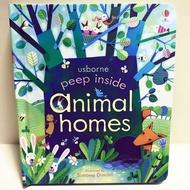 [正版現貨-Usborne硬頁操作翻翻書]Peep Inside animal homes-動物們的家