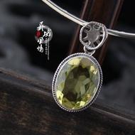 (現貨精品)【檸檬晶】印度925純銀飾品手工天然黃水晶/檸檬水晶吊墜項墜飾品