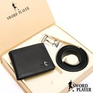 【SWORD PLAYER】莎普爾Fencing款真皮皮帶+10卡1照皮夾禮盒組