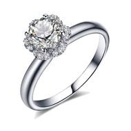~*沛祺流行時尚珠寶*~{捧花系列一}莫桑鑽石1克拉 鑽石.14K金(585)經典款女戒指