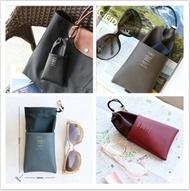 高質感布面拼接皮革眼鏡袋 /眼鏡盒,眼鏡袋,隨身眼鏡袋,皮革眼鏡袋