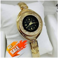 CITIZEN CRYSTAL GOLD BLACK WATCH FOR WOMEN