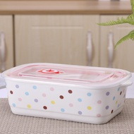 新品-微波爐加熱專用陶瓷飯盒長方形便當盒帶蓋分隔成人韓式三格保鮮碗
