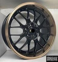 【CS-654】全新鋁圈 類BB RSGT 19吋 5孔114.3 100 108 112 120 亮黑色+古銅唇 VK