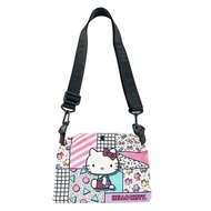 小禮堂 Hello Kitty 帆布斜背袋 (幾何款)