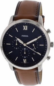 Fossil Men's Neutra FS5453 Silver Leather Japanese Chronograph Fashion Watch