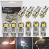 Safego 10 ชิ้น/ล็อตใหม่ T10 W5W หลอดไฟ LED รถสีขาว 6000 K 168 175 194 904 906 908 2825 ภายในแผงประตู 12V