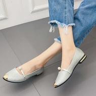 รองเท้าคัชชูหัวแหลม ส้นเตี้ย สายคาดประดับมุก รองเท้าแฟชั่นผู้หญิงเรียบหรู ใส่ออกงานสวยๆ เบอร์ 35-40 SOUTHEAST