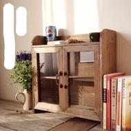 雙開門玻璃櫃 桌上收納木櫃 原木舊木色茶具收納實木