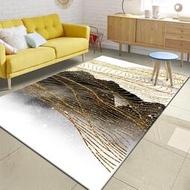 快速出貨 沙發墊一件代發跨境時尚抽象新中式水墨金黃色線條臥室客廳地墊地毯定制