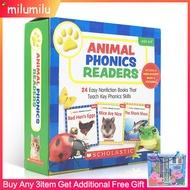24Pcs Children Books Scholastic Animal Phonics Readers English Activity Books for Kidsสมุด