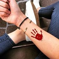 OhMyTat 血腥手掌印 Bloody Palm 刺青圖案紋身貼紙 (2 張)