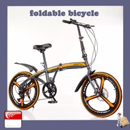 20 Inch Variable Speed Double Disc Brake Folding Bicycle Adult Outdoor Riding Alloy Single Wheel Folding One-wheel Road Mountain Bike
