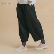 a la sha+a 口袋裝飾褲口打褶平織褲