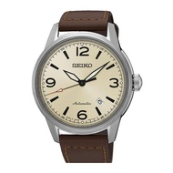 SEIKO PRESAGE AUTOMATIC SRPB03J1 LEATHER SILVER MENS WATCH