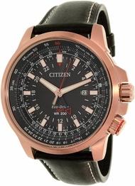 Citizen Men's Eco-Drive BJ7073-08E Black Leather Dress Watch