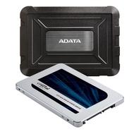 【每家比-台灣發貨】〔組合活動〕美光 MX500 500GB SSD 固態硬碟 + 威剛 ED600 硬碟 外接 空盒