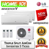 LG New ArtCool Multi Split Aircon [System 3] available in A4UQ26GFA2 with *Replacement Services*