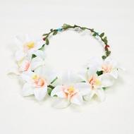 森林系女孩花環頭飾髮飾新娘頭花飾(白色)
