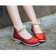 Nbaby 🧸 shoe14201 รองเท้าคัชชูเด็กสีแดง รองเท้าคัชชูเด็กเล็ก รองเท้าคัชชูเด็กโต (ยาว=ความยาวพื้นในรองเท้า) รองเท้าออกงานเด็ก