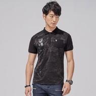 【PLAYBOY】迷彩拼接透明印花POLO衫(黑色)