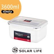 韓國KOMAX Stenkips長型不鏽鋼保鮮盒3600ml白色.露營野餐環保不鏽鋼醃食物密封罐樂扣蓋便當盒