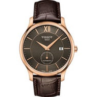 TISSOT天梭 Tradition 小秒針機械錶-咖啡x玫瑰金框/40mm T0634283606800