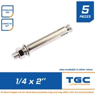 5 PCS Stainless Dyna Bolt 1/4  x 2 (M6 X 50mm) also called Expansion Bolt or Sleeve Anchor or Concrete Anchor TGC