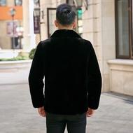 進口丹麥貂皮大衣男整貂水貂皮草男士外套翻領修身休閑夾克款反季